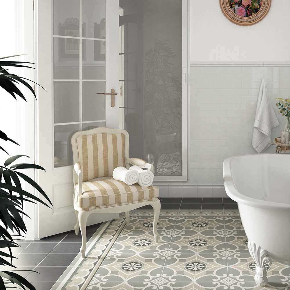 Decorative Victorian Floor Tiles In A Period Bathroom Setting #period #Victorian  Bathroom Flooring,