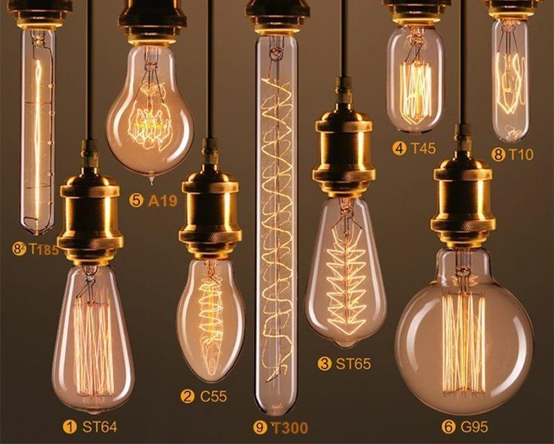 Vintage Industrial Filament Squirrel Cage Antique Style Edison Light