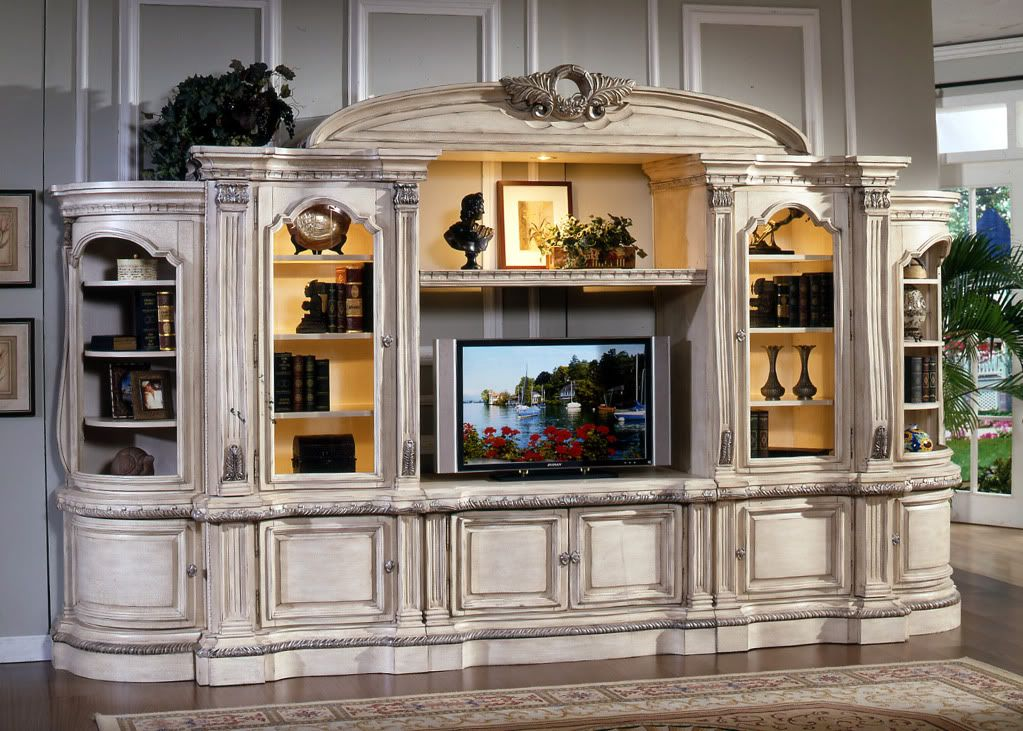 large white ornate tv entertainment center wall unit