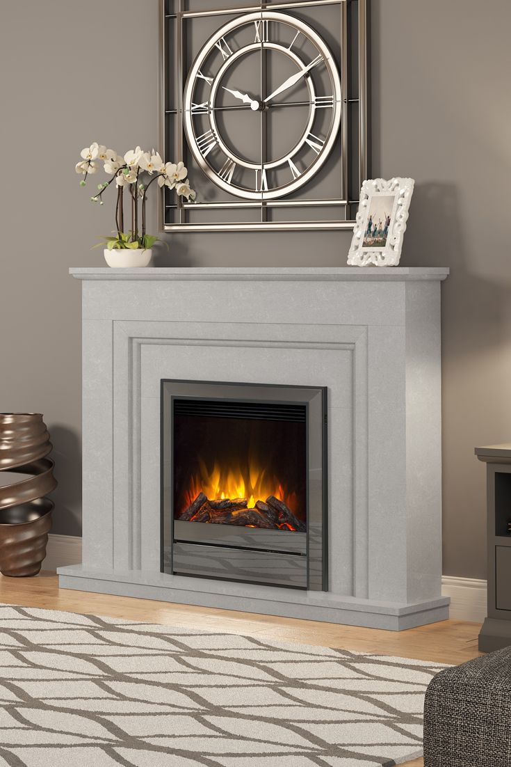 50 Amorina Deluxe Fireplace In Grey Micro Marble Fireplace