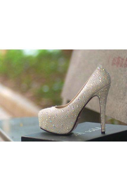 Rhinestone High Heels White Wedding Shoes  #white wedding ... Wedding ideas for ...