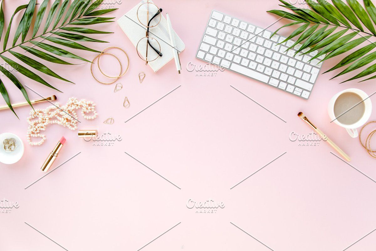 Stylized Pink Desk C Of Palm Leaves Pink Desk Pink Background Pink