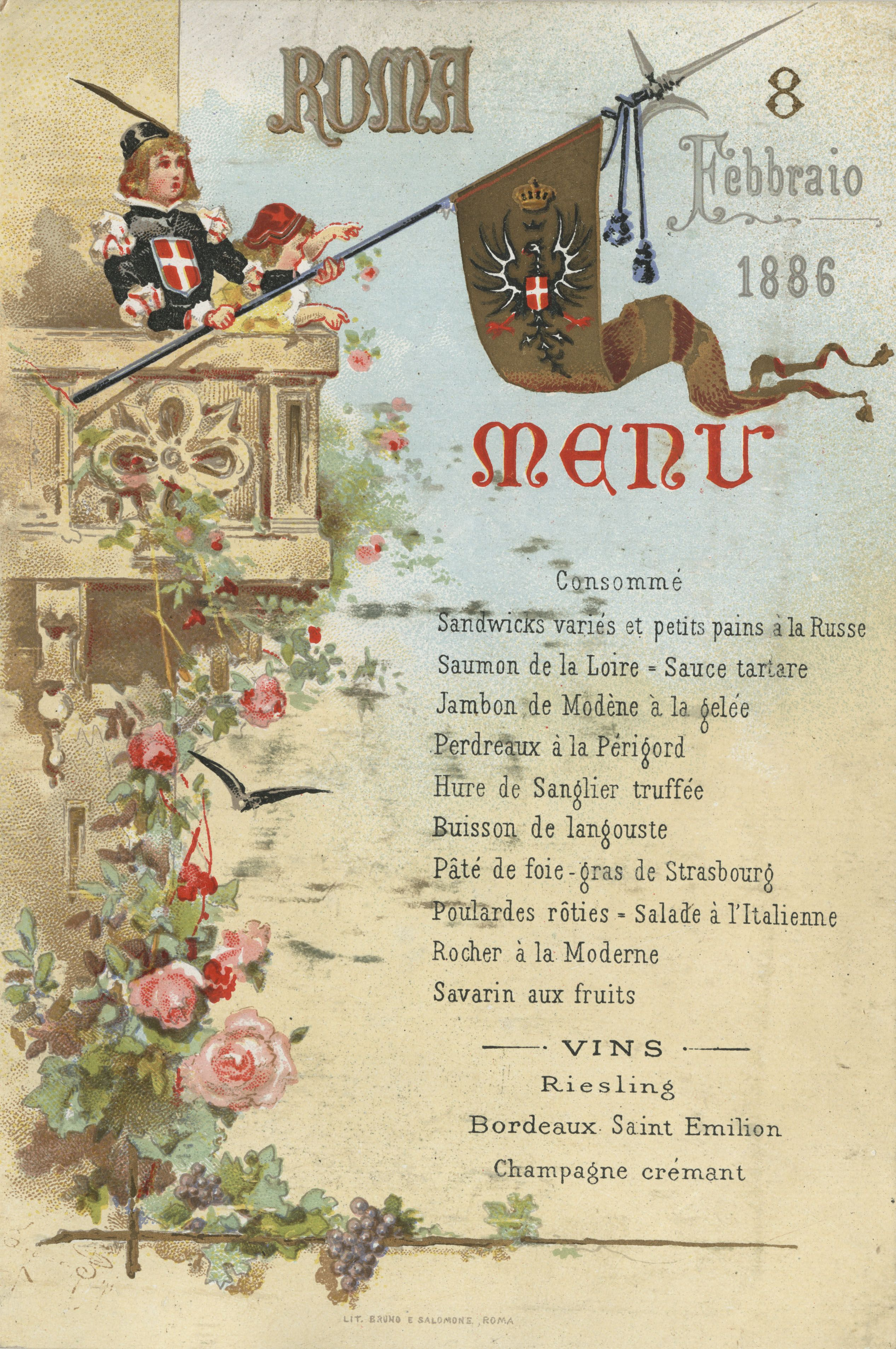 """The restaurant menu for the House of Savory Family residence in Rome, Itay, February 8, 1886. Part of the UNLV Libraries """"Menus: The Art of Dining"""" digital collection. #UNLV"""
