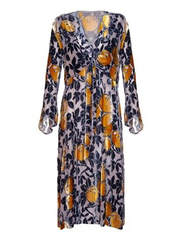 Late 1920s blue and orange burn out silk velvetflapper dress with matching long fluted sleeved, tie front jacket to pull inunder the bust.