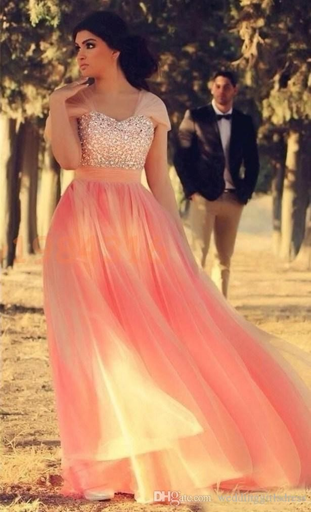 A Line Sweetheart Cap Sleeve Prom Dresses Beaded Sequins Coral ...