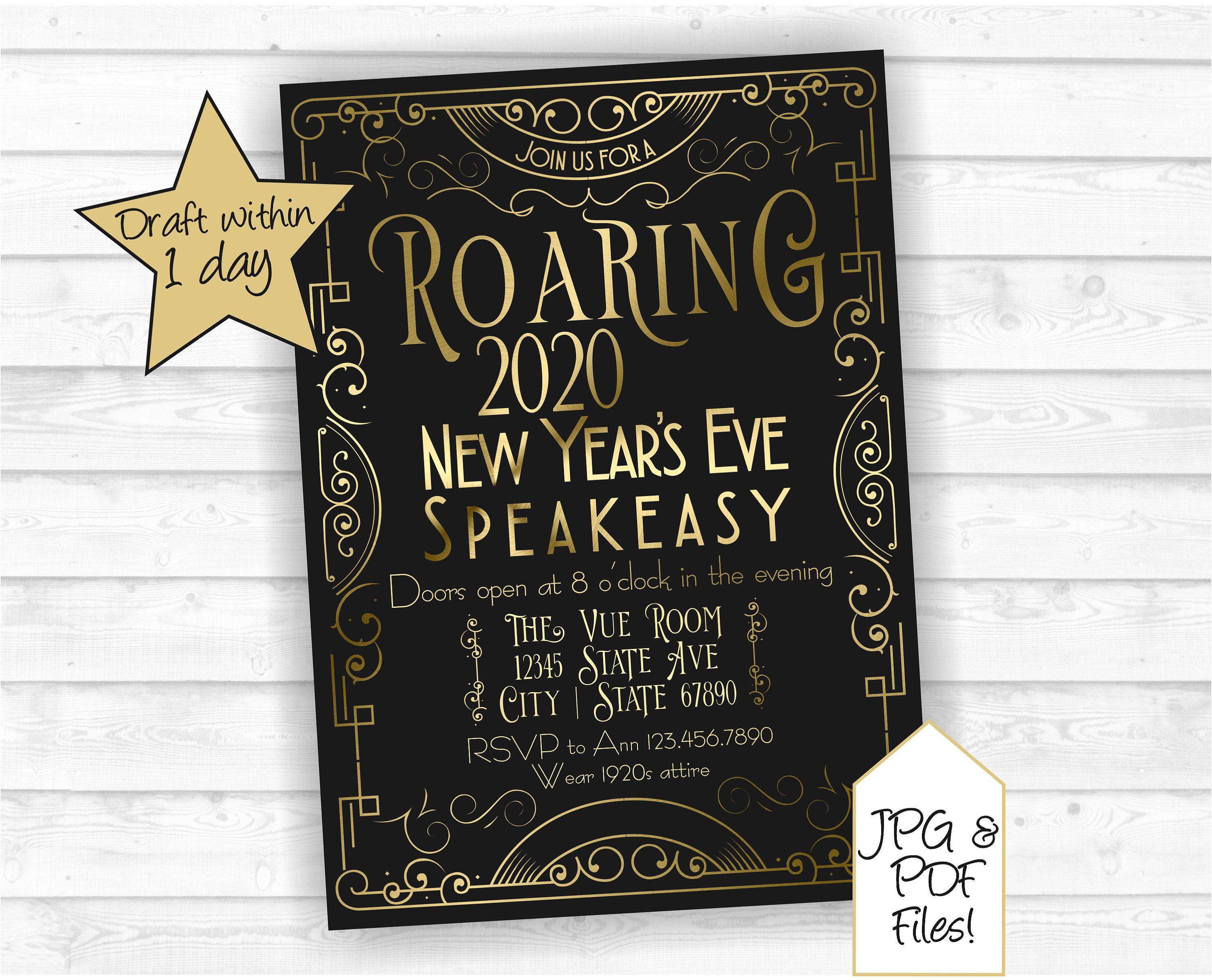 Free Printable Graduation Invitations 2020.Roaring 20s New Year S Eve Party Invitations Speakeasy