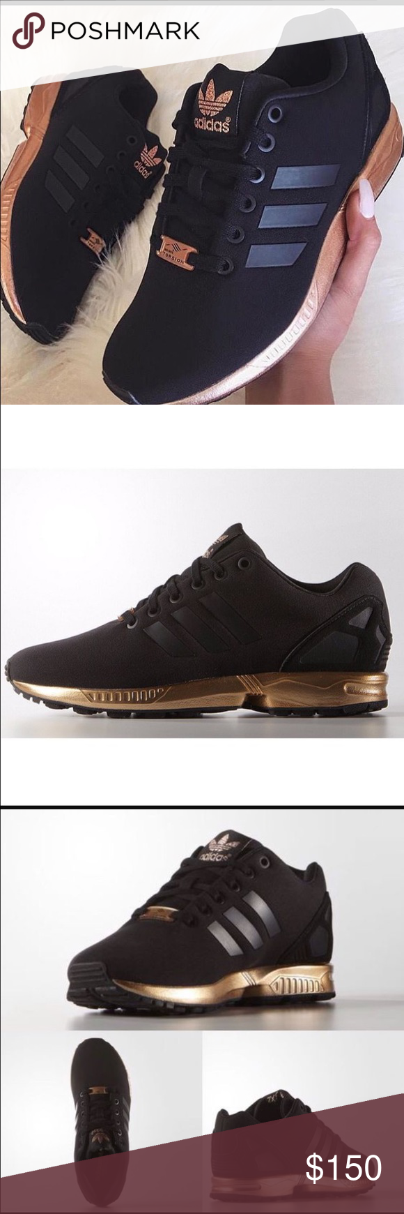 ace59bbed Limited edition Adidas zx flux Black and gold sz6 I will post my own  original pics when I get a chance. I have these shoes in size 6 in women s  but they ...