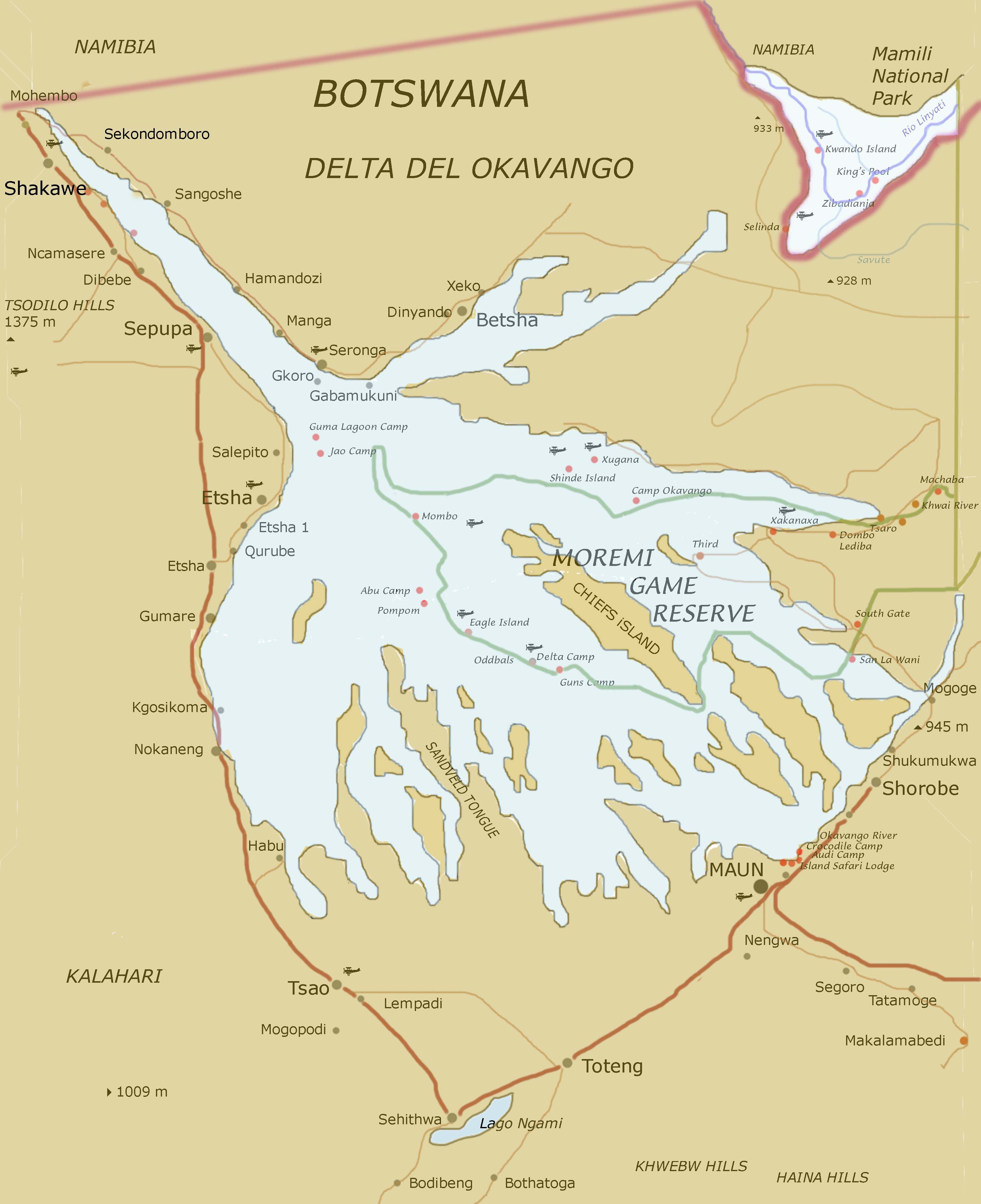 Okavango Delta Map Mappery In 2020 Botswana Travel Okavango Delta Botswana