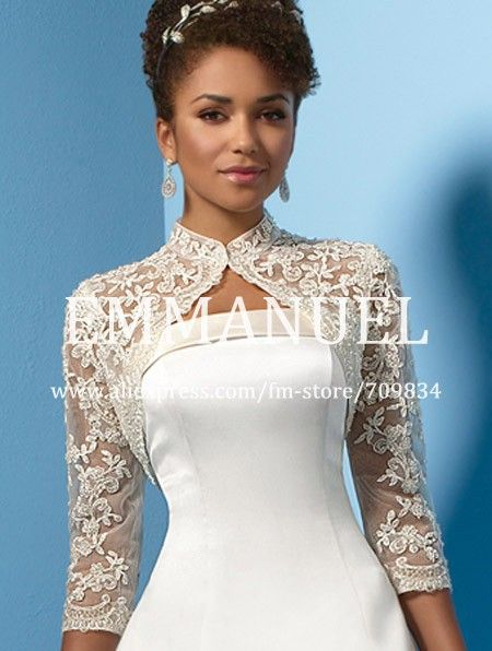 38fa0e9a7d79d Evening Shrug Wedding Capes White Wedding Jackets High Neck Lace Bridal  Bolero Long Sleeves J009