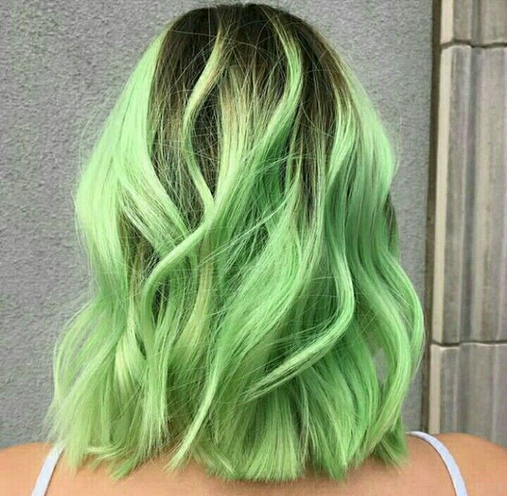 light green hair with dark roots