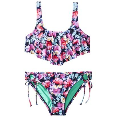 Xhilaration Juniors 2 Piece Swimsuit Floral Print Traje De Bano