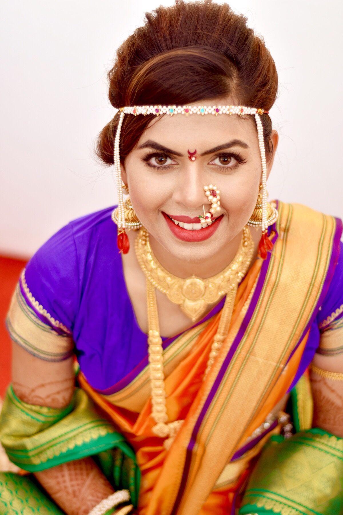 nauvari saree bride #nath #nathni #nosering   maharashtrian