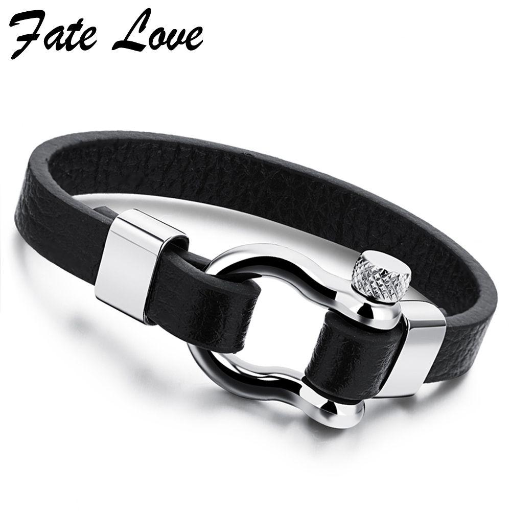 Trendy jewelry leather bracelet men stainless steel mens jewellery