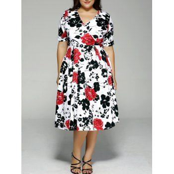 Plus Size High Waist Floral Surplice Dress Clothes Pinterest