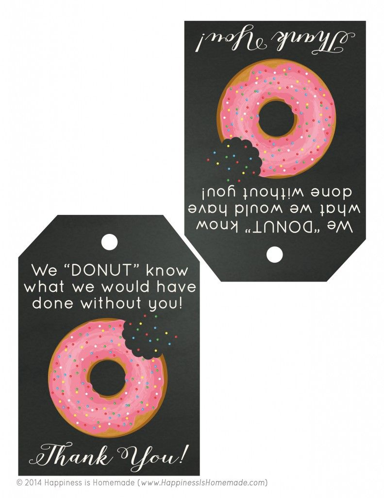 Free Printable: Donut Thank You Gift Tags | Gift tags, Awesome ...