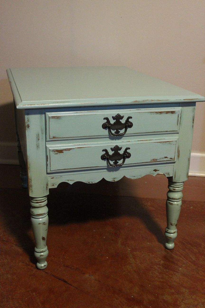 Maple End Table With Scalloped Details. Painted In Aqua Latex, Distressed,  And Coated