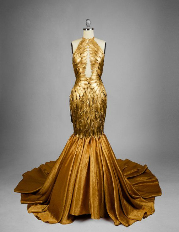 Download Gold Gilded Feather Couture Mermaid Gown in 2021 | Dresses, Fancy dresses, Fantasy gowns