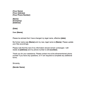 Change Of Company Name Letter Sample