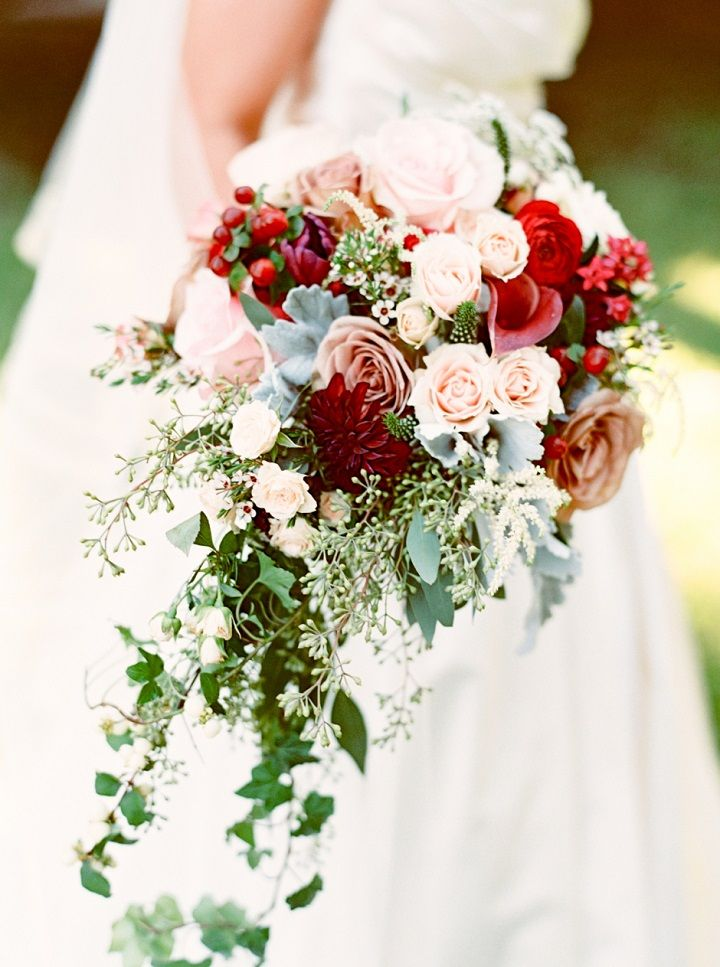 Blush and red jewel tones wedding bouquet | itakeyou.co.uk