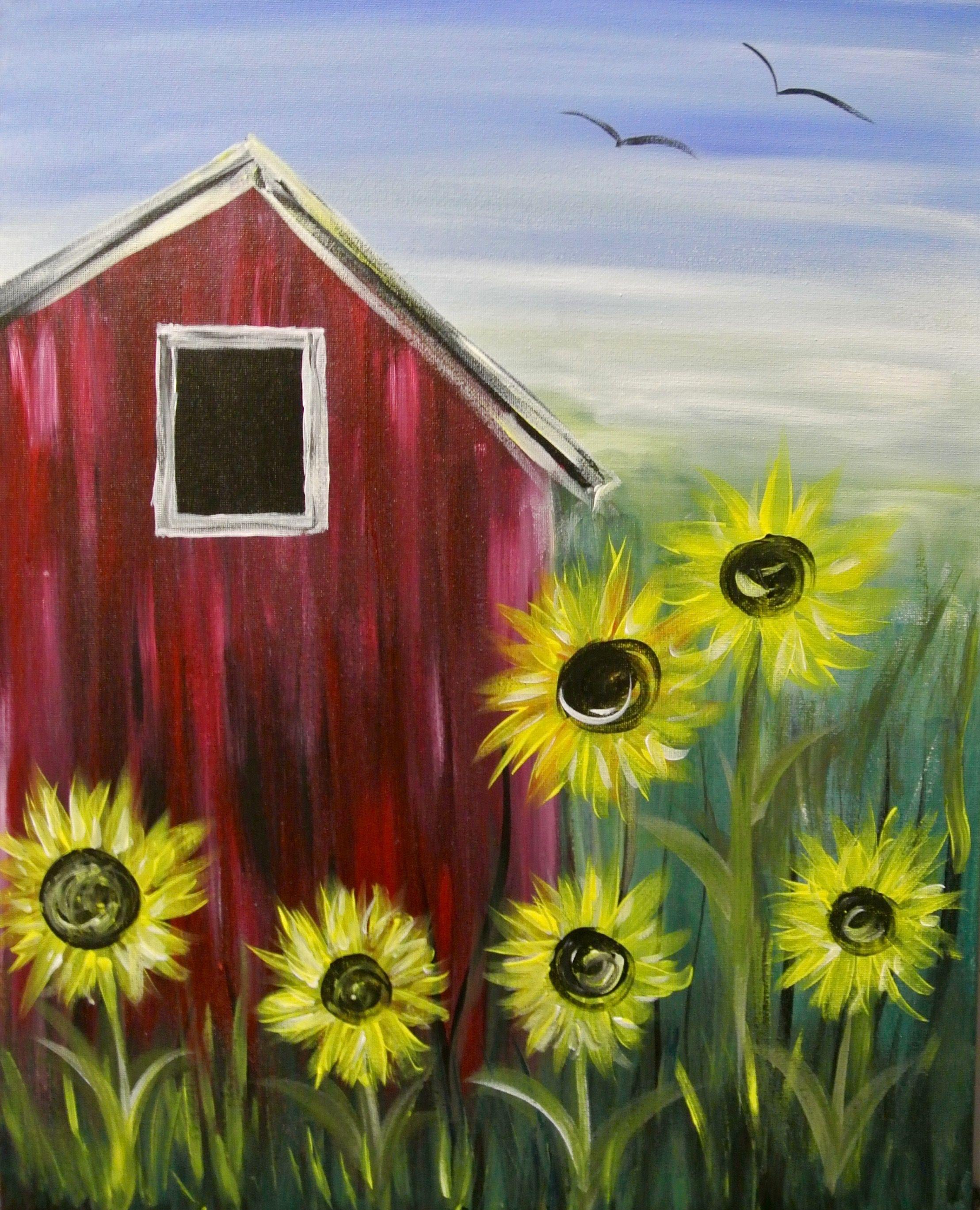 Paint nite sunflower farm creative canvas pinterest sunflowers farming and paintings - Painting ideas ...