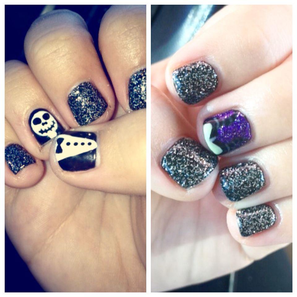 Halloween Nails. Maleficent ears on left hand. Jack Skellington on ...