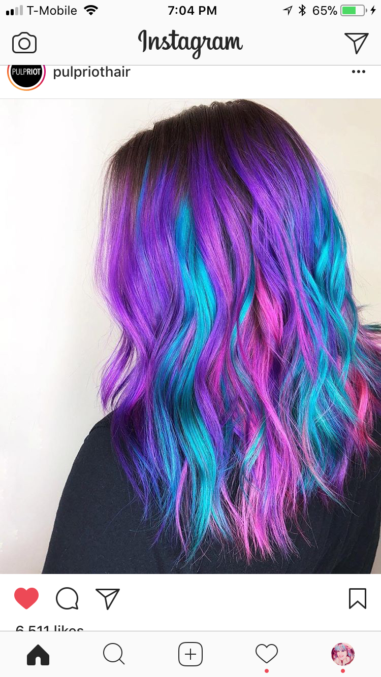 Pink Blue Purple Hair Creative Hair Color Cool Hair Color Hair Styles