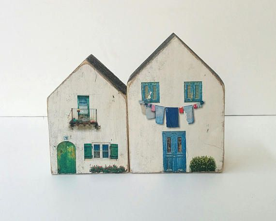 Houses In Recycled Wood Wood Dyed Printed And Hand Painted Each