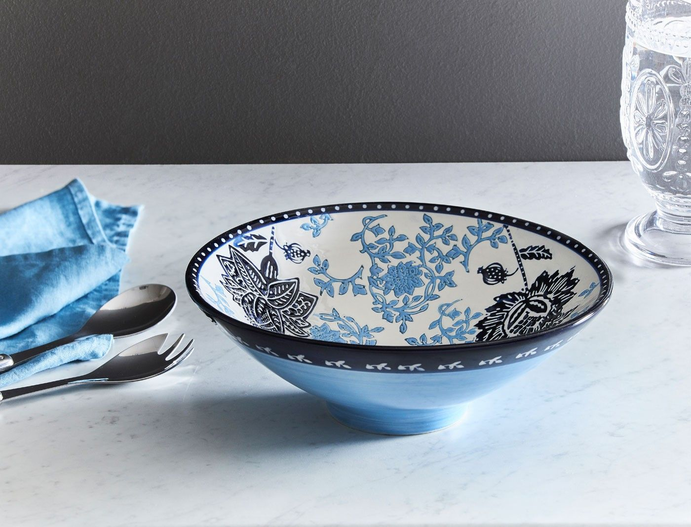 Tango Flared Bowl Blue Floral Blue X2f Ink Bowl Blue Ink Decorative Bowls