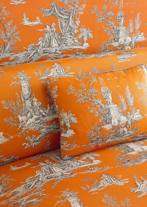Toile orange with gray and white