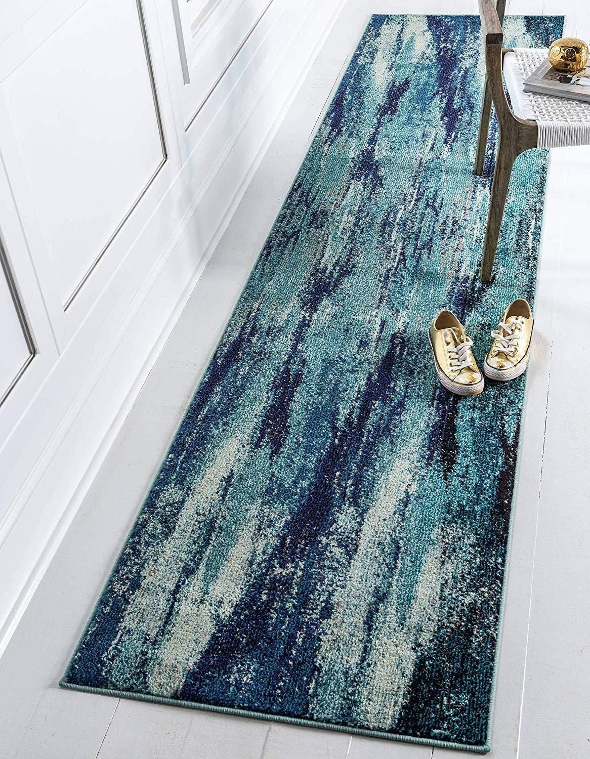 Photo of Bright Abstract Blue Soft Area Rug – 3′ x 10′ runner