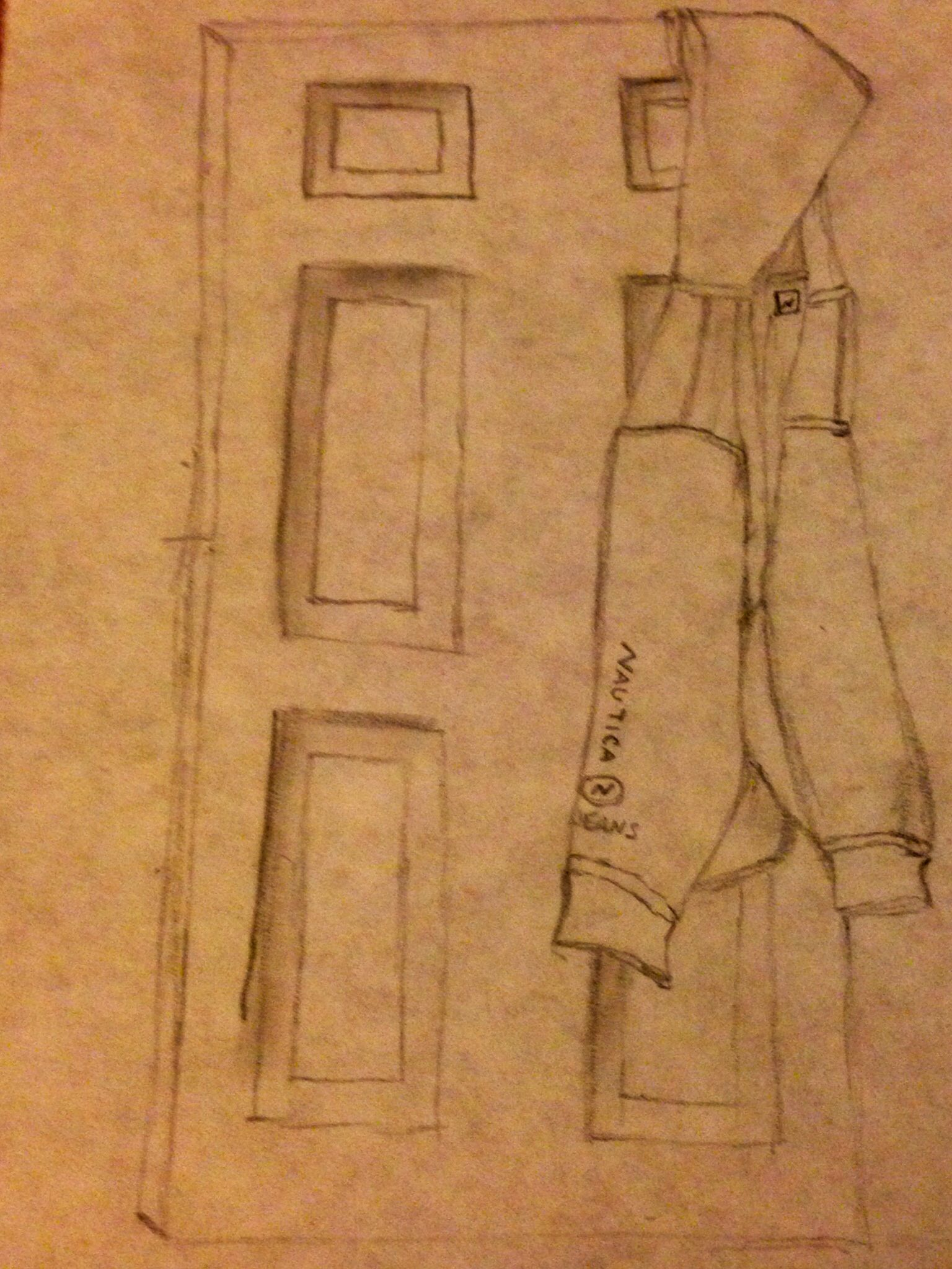 Door pencil drawing - Sweater On A Closet Door Drawing With Pencil