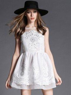 White Embroidery Sheer Panel Overlay Skater Dress