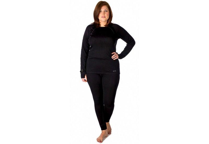 XTM Womens Plus Size Merino Wool Thermal Top Black - Front ... 374ea4fcf