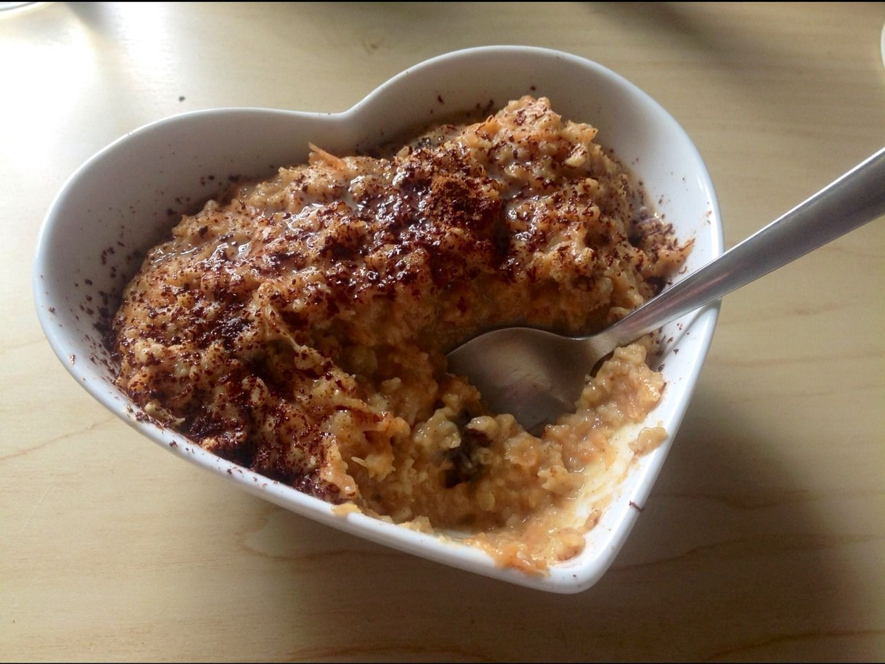 Carrot Cake Oatmeal Recipe (AKA, how to soothe your carrot cake craving and prevent you eating an entire cake)  1. Heat 3/4 cup of (soya) mi...