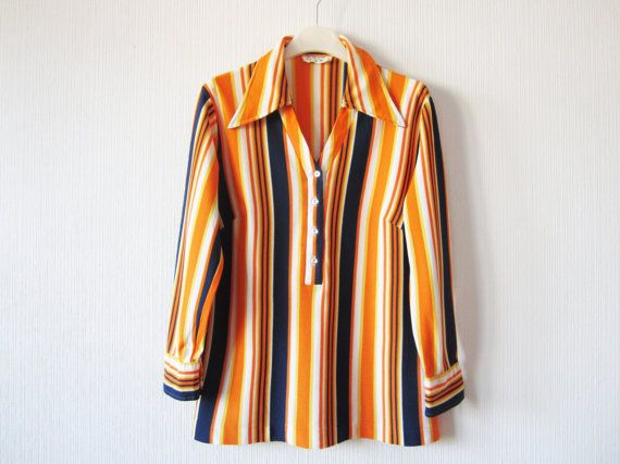 ba8c7af1f8241f Vintage 70 s Vibrant Orange Striped Blouse Women Long Sleeve Button up  Shirts Hippie Boho Large