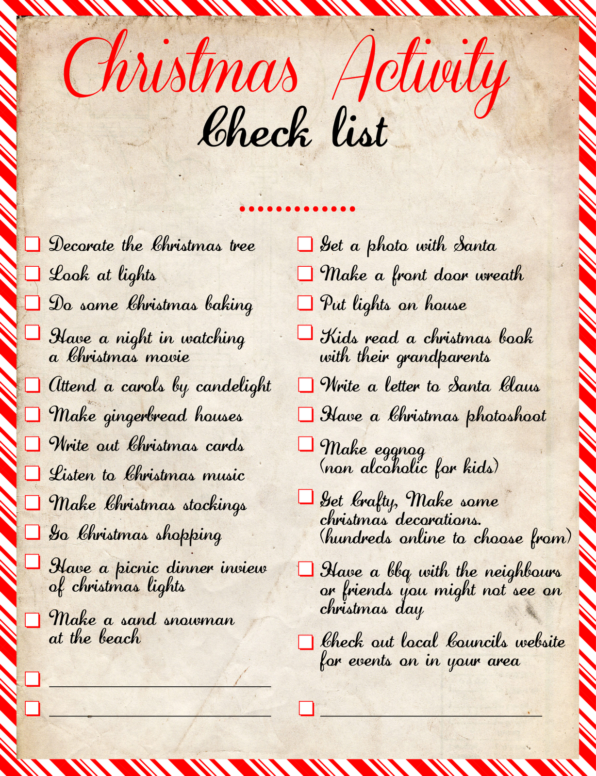 Christmas Activity Check List