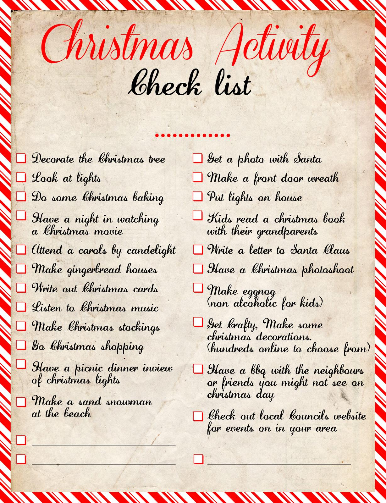 Christmas Activity Check List