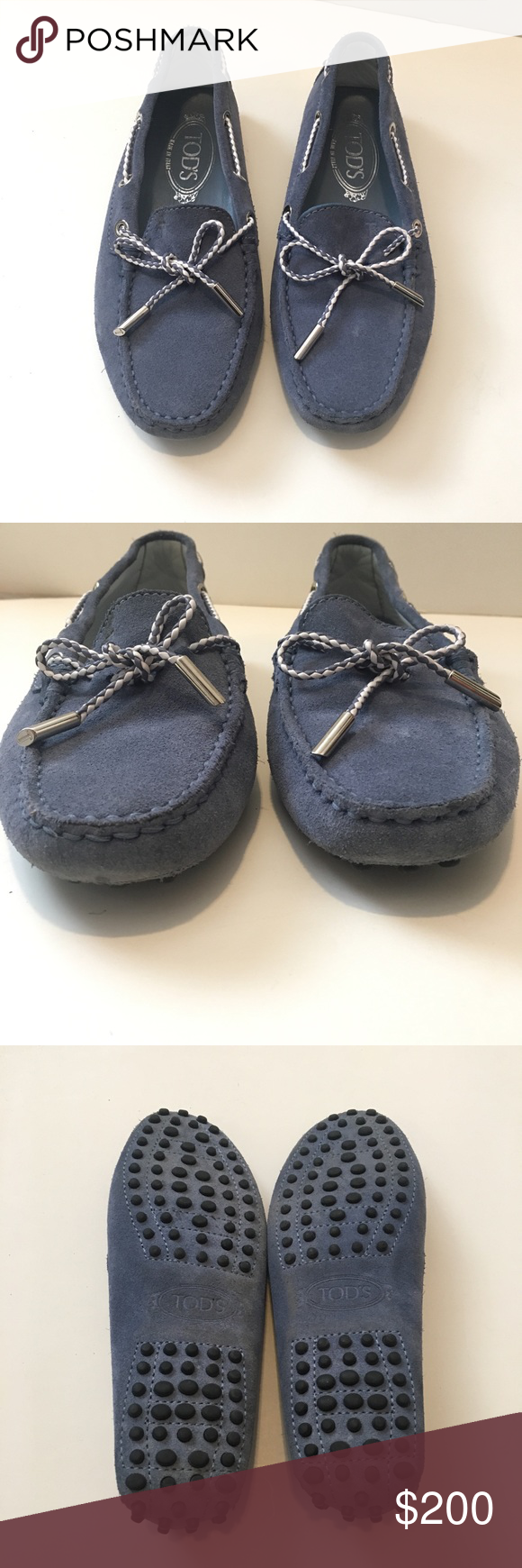 bb553f25e33 Tod s Women s Braided Lace Gommini Brand  Tod s Style  Suede Gommini Driving  Shoe Braided Leather Two-Tone Tie Color  Blue Suede with Blue and White  Braided ...