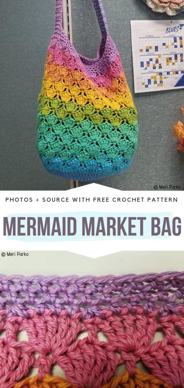 Easy Market Bags Free Crochet Patterns  Free Crochet Patterns Source by melanieuschmann Bags