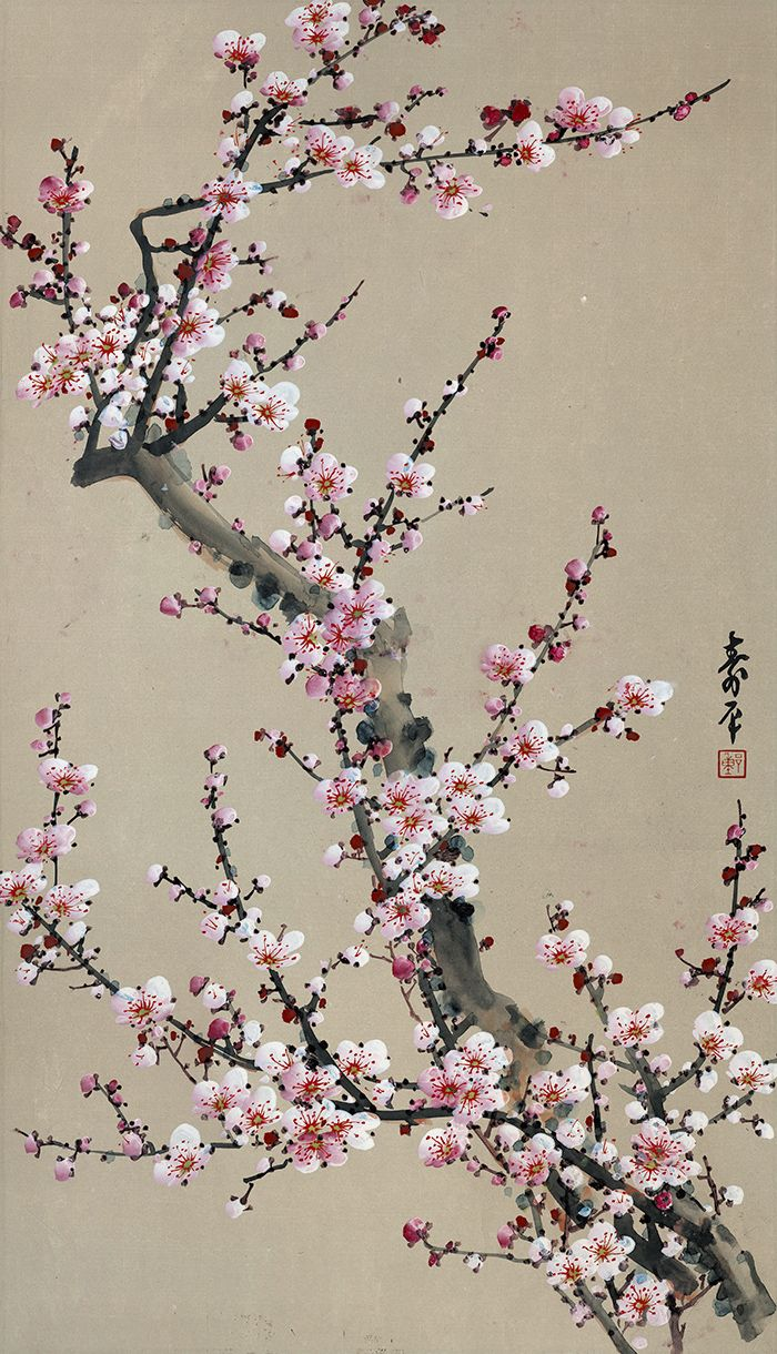 Dong Shouping Red Plum China Online Museum Cherry Blossom Art Cherry Blossom Painting Japanese Painting