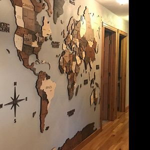 Photo of Push Pin Travel World Map Large Map Art Travel Map For Husband From Wife Large Wall Art Rustic Decor Enjoy The Wood Anniversary Gift Idea