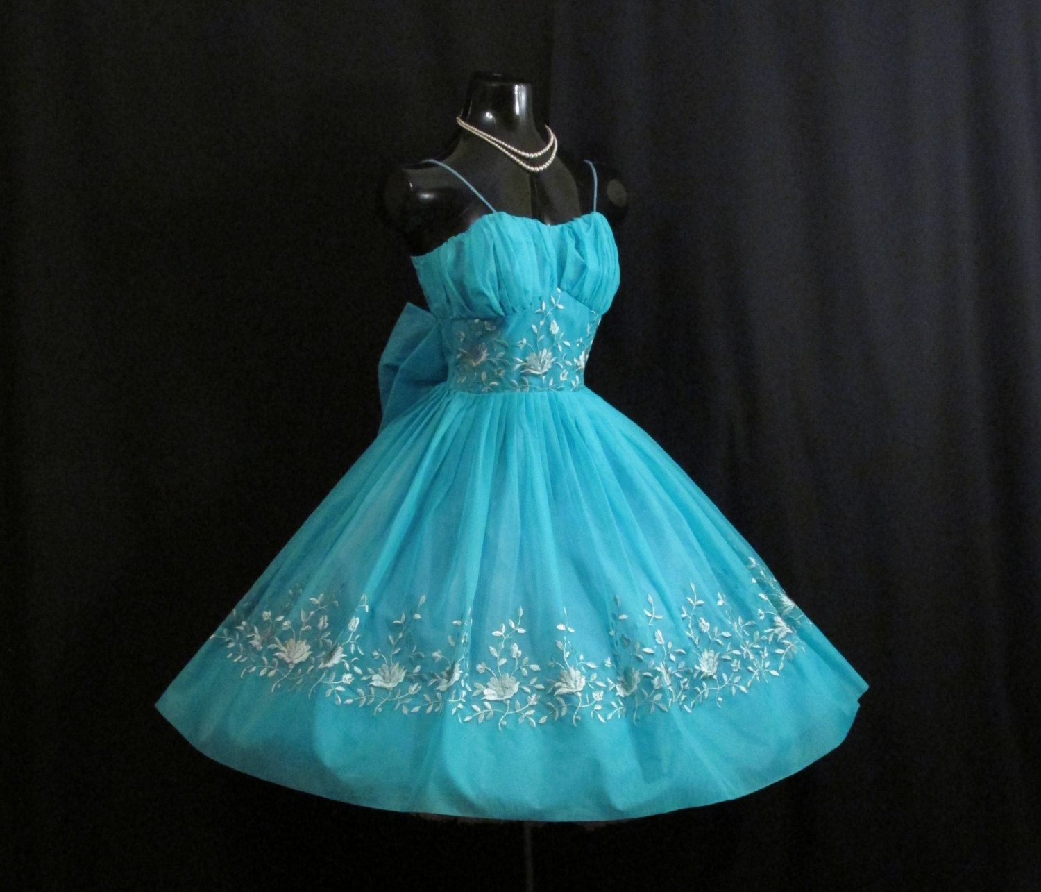 Vintage 1950S 50S Turquoise Blue Embroidered Chiffon