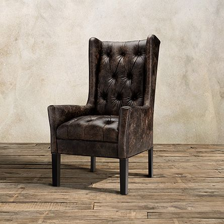 Halstead Tufted Leather Dining Arm Chair in Bronco Iron and Black ...