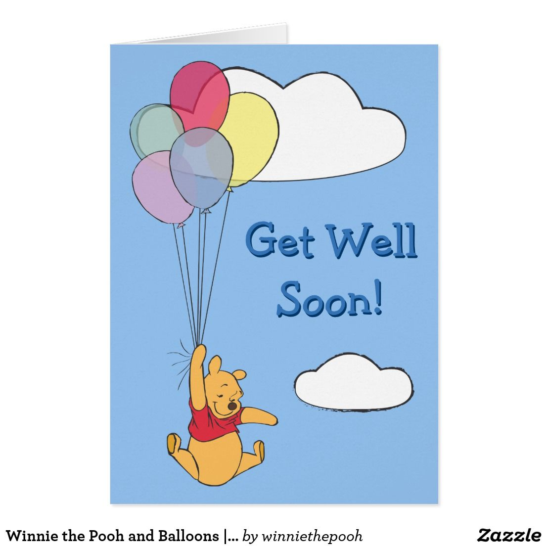 Winnie The Pooh And Balloons Get Well Card Zazzle Com Get Well Cards Winnie The Pooh Pooh