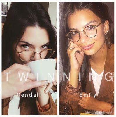 dc9981d3619 Kendall Jenner and Emily Ratajkowski Twinning Doppelganger in Garrett Leight  Round Turtoise Frame Glassed and Suede Jacketl