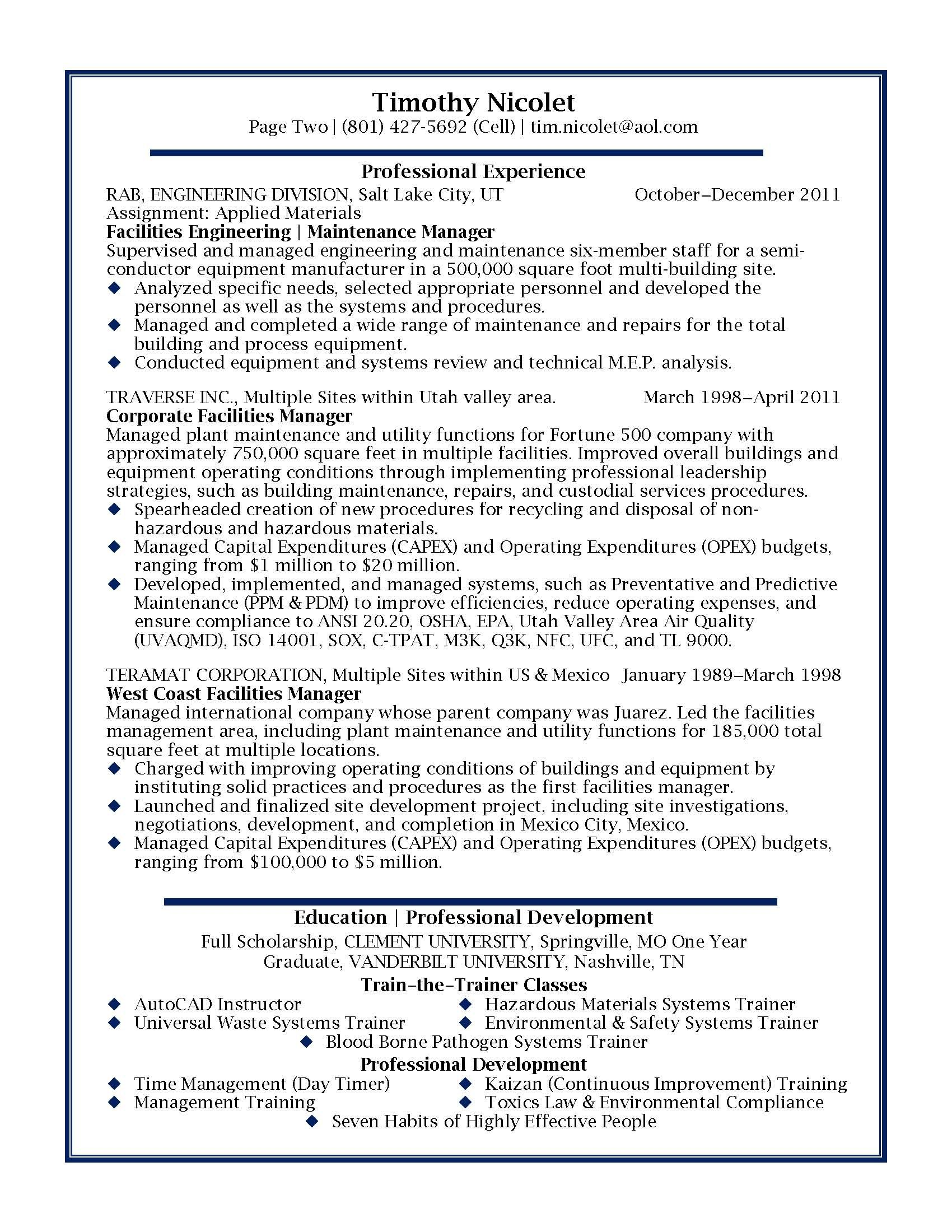 Facilities Manager Professional Resume Sample Design Resumes 2200
