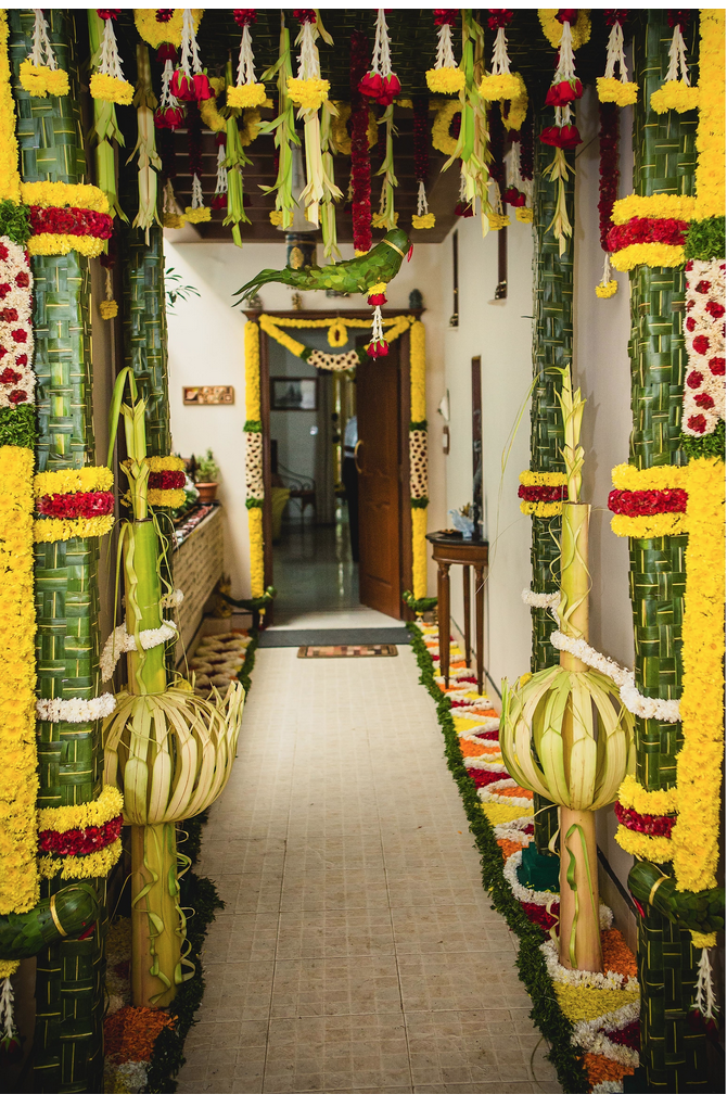 Coconut leaf pillars center green and yellow sides white with indian wedding decorations coconut leaf pillars center green and yellow sides white with cutouts junglespirit Gallery