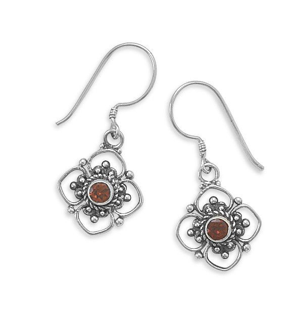 Round Faceted Garnet/Cut Flower Design Earrings on French Wire #roundfacetedgarnetcutflowerdesignearringsonfrenchwire #round #faceted #garnet #cutflowerdesign #earrings #frenchwire #frenchwireearrings