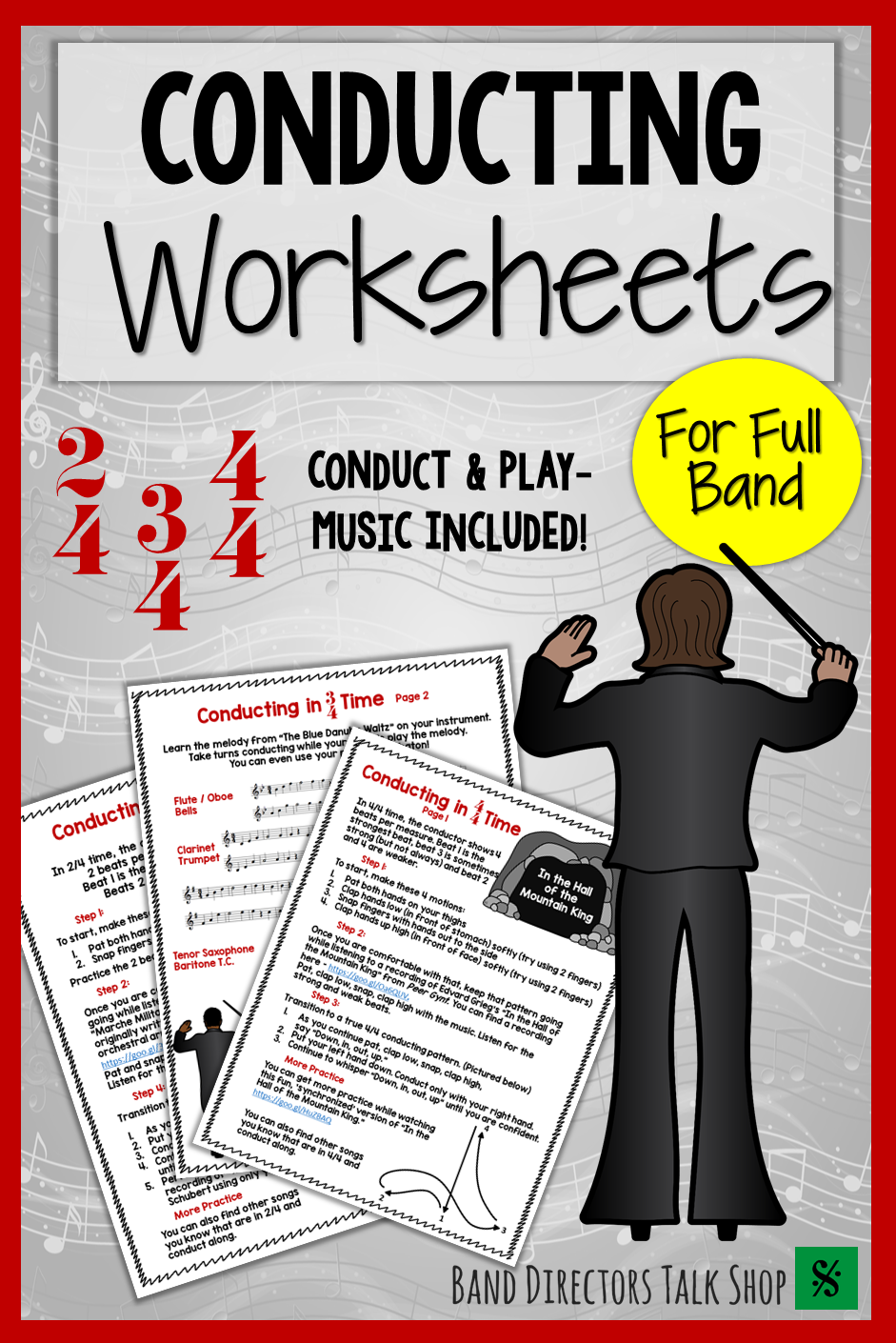 Music Conducting And Time Signature Worksheets For Beginning Band