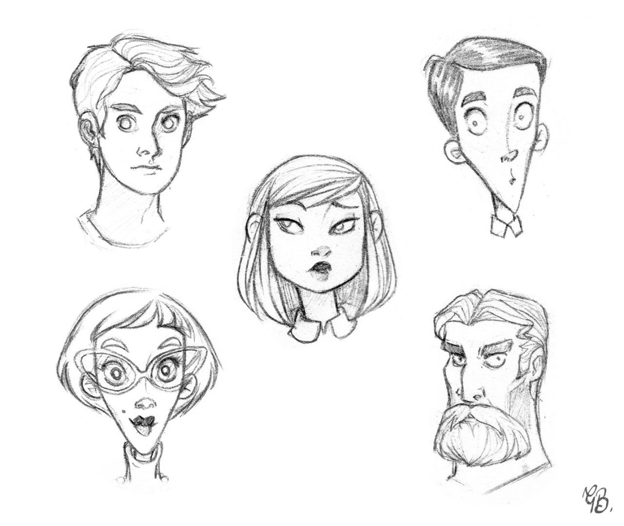 Daily Sketches #023 - 23/01/2015 Exercising face shapes